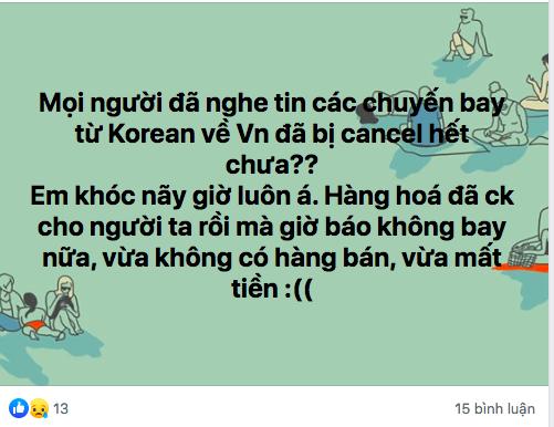 Một tài khoản đăng tải về việc cấm bay đến Hàn Quốc, Nhật Bản. Ảnh: chụp màn hình