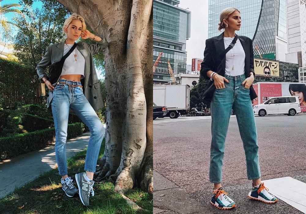 Nếu bạn theo đuổi phong cách quý cô sang chảnh thì cũng có thể học cách kết hợp với sneaker giống như Caroline để tạo nên sự khác biệt và cá tính.