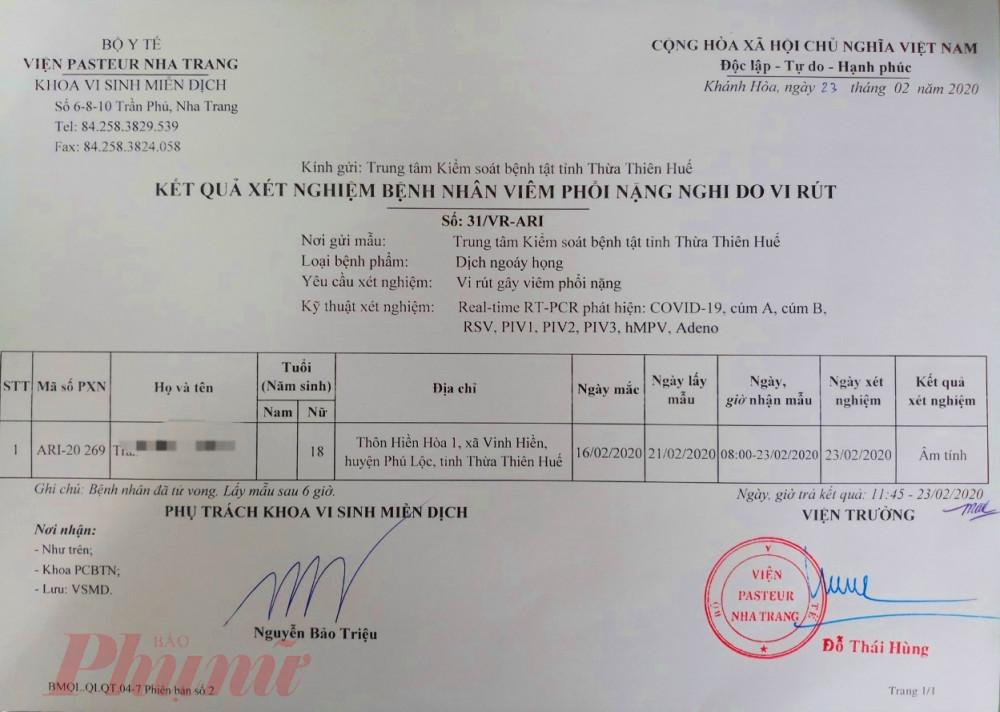 Kết quả xét nghiệm từ Viện Pasteur Nha Trang gửi về Trung tâm Kiểm soát bệnh tật Thừa Thiên - Huế
