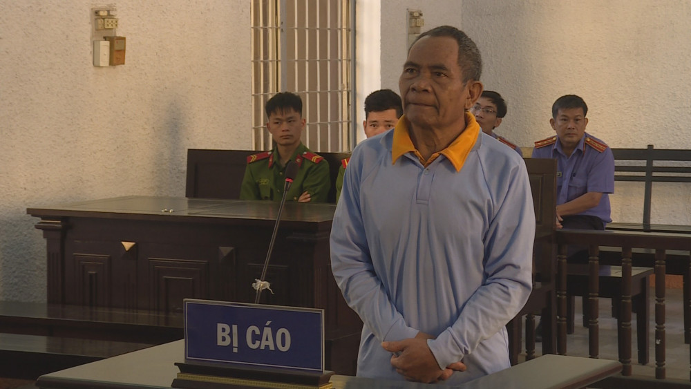 Bị cáo Y Krang Liêng tại phiên tòa