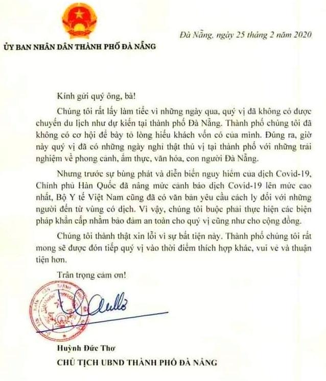 Bức thư ông Huỳnh Đức Thơ gửi đến các công dân Hàn Quốc