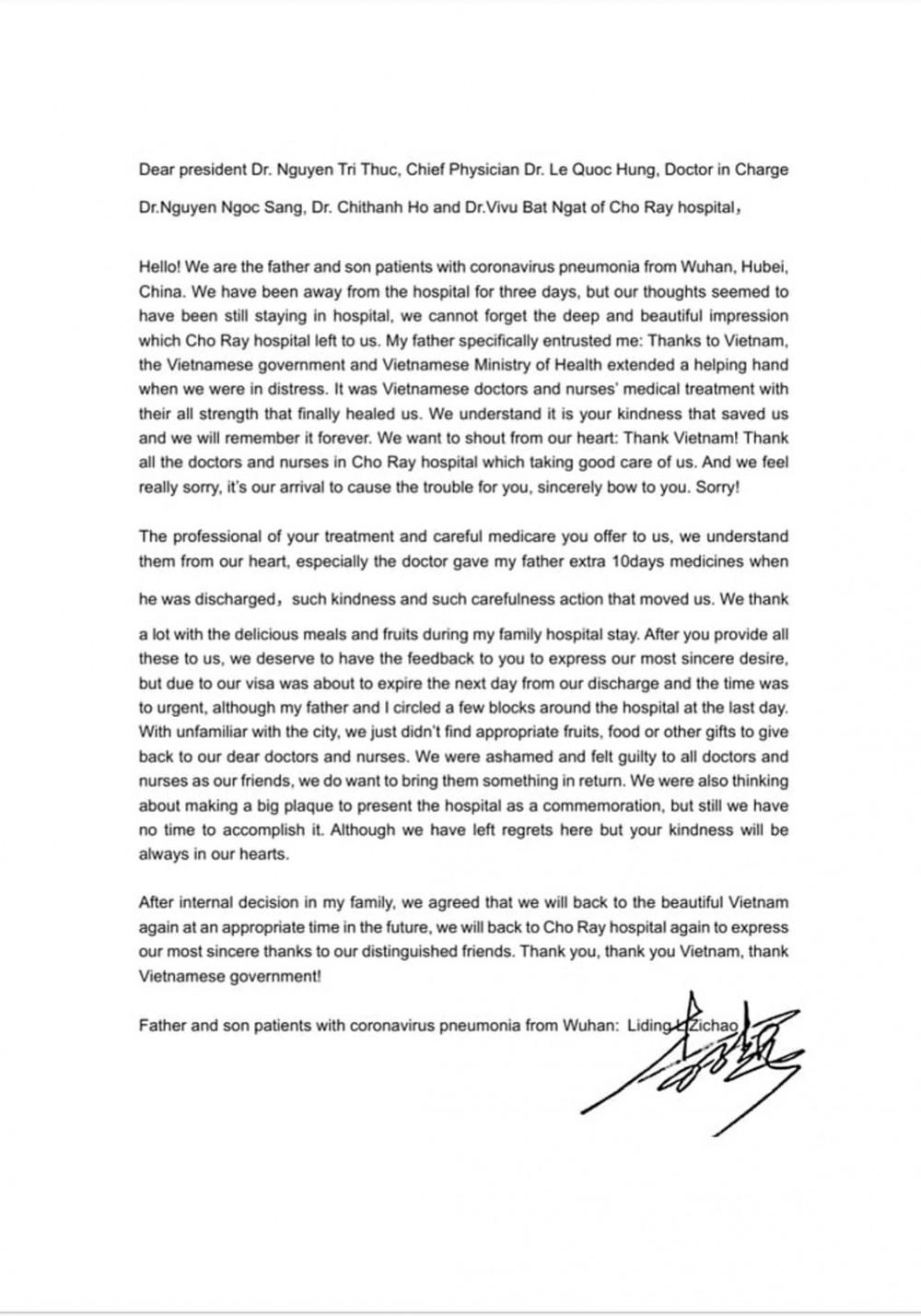 Lá thư cảm ơn gửi tới Việt Nam