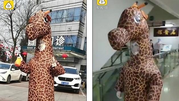 Cô gái Trung Quốc khiến mọi người ngỡ ngàng khi hóa trang trong bộ cánh hươu cao cổ đến bệnh viện khám bệnh. Theo cô chia sẻ, cô mặc bộ đồ này suốt quãng đường từ nhà đến viện và từ viện về nhà, trước nỗi lo sợ lây nhiễm COVID-19.