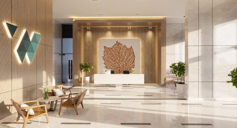 Thiết kế sảnh đón hiện đại hiếm thấy tại các căn hộ phân khúc tầm trung.