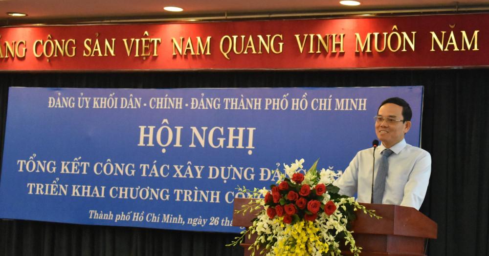 Phó bí thư thường trực Thành ủy TP.HCM Trần Lưu Quang phát biểu tại hội nghị