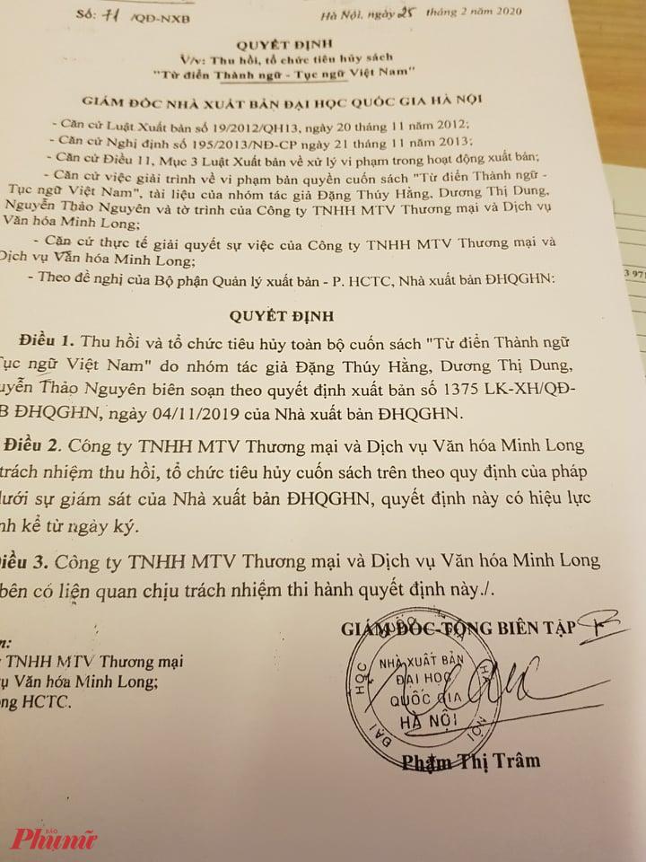 Toàn bộ cuốn sách Từ điển thành ngữ tục ngữ Việt Nam sẽ được thu hồi và tiêu hủy theo Quyết định số 71 của NXB Đại học Quốc gia Hà Nội