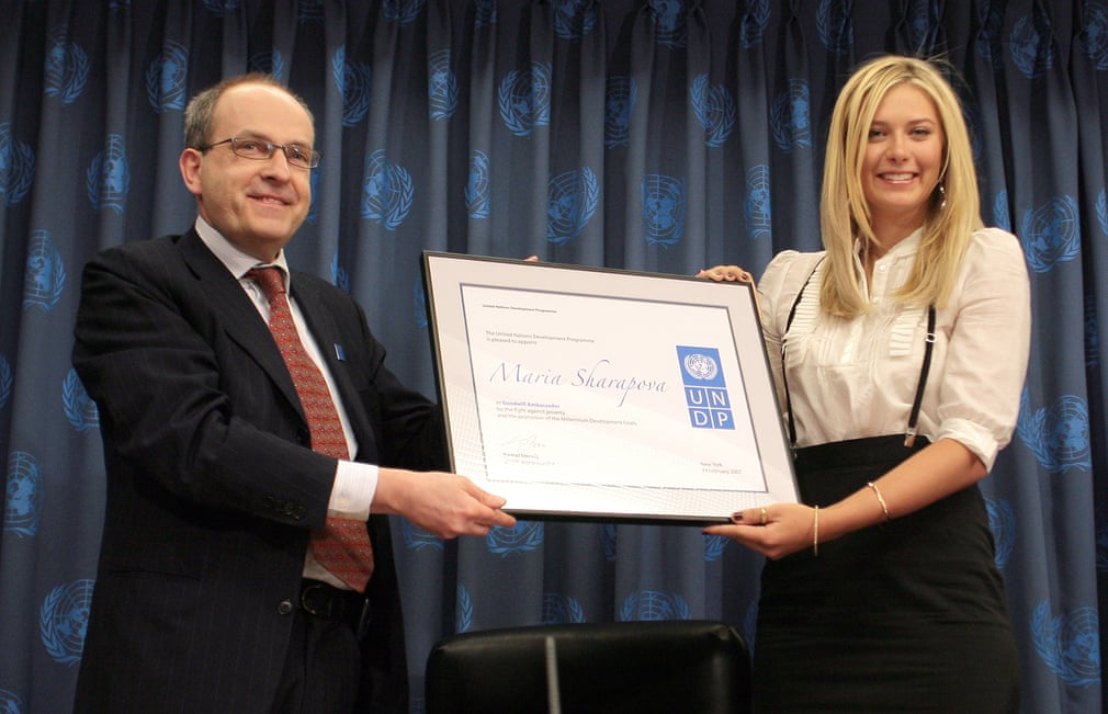 Vào tháng 2/2007, Sharapova được bổ nhiệm làm Đại sứ thiện chí cho Chương trình Phát triển Liên Hợp Quốc và cô cũng đã sử dụng dịp này để quyên góp 100.000 USD cho tám dự án phục hồi sau thảm họa Chernobyl tại Belarus, Nga và Ukraine.