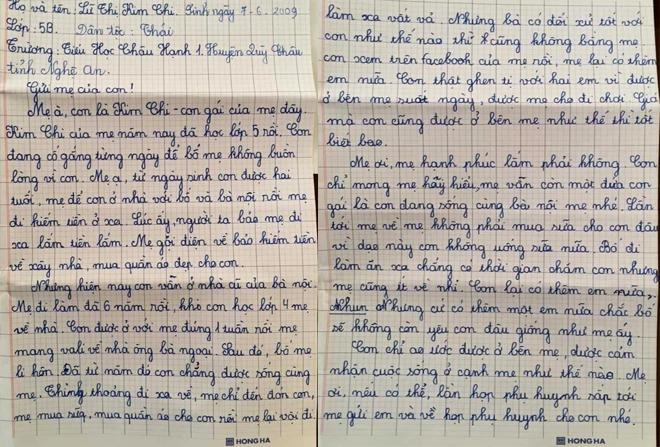 Lá thư gửi mẹ khiến nhiều người xúc động của bé gái lớp 5