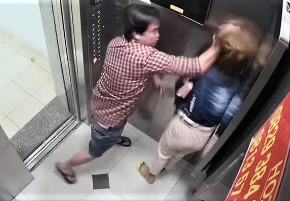 Hình ảnh Hải bạo hành bạn gái trong thang máy chung cư Trung Đông .