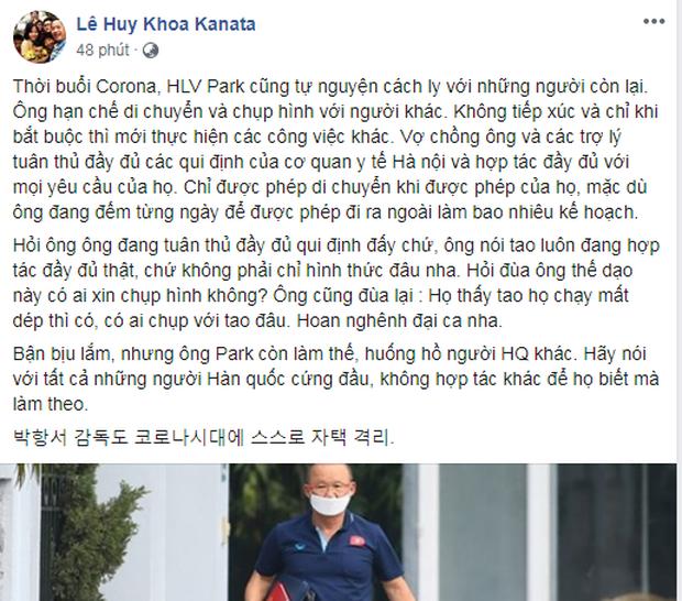 Dòng trạng thái của trợ lý Lê Huy Khoa.