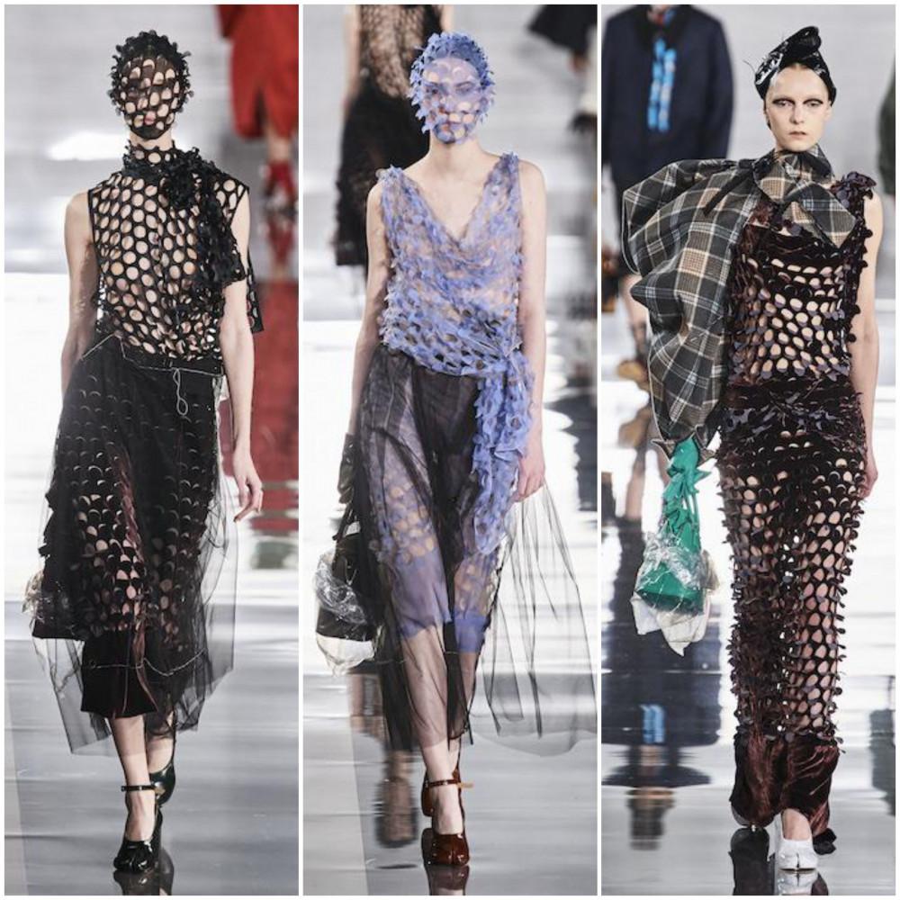 Trong bộ sưu tập thu-đông 2020 của Maison Margiela tại Tuần lễ thời trang Paris gây ấn tượng với những trang phục có kết cấu lạ mắt được lắp ráp từ vải vụn, lụa, dệt kim, bông cùng những đường cắt may tinh tế. Đặc biệt, những bộ cánh khác lạ trong chất liệu voan mỏng manh kết hợp cùng lớp mặt nạ gây ngạc nhiên cho khán giả, một điểm nhấn thú vị tại sự kiện thời trang lớn trên thế giới.