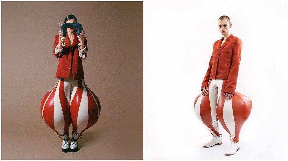 Chiếc quần bom hơi cao su ngoại cỡ nằm trong bộ sưu tập tốt nghiệp Cao đẳng Thời trang London của nhà thiết kế trẻ Ấn Độ Harikrishnan tạo thành từ 30 tấm latex riêng lẻ, có 3 màu chủ đạo trắng, đỏ và xanh lá cây vấp phải nhiều phản ứng trái chiều. Mẫu quần được kết hợp với áo thun, tank-top hoặc áo khoác.