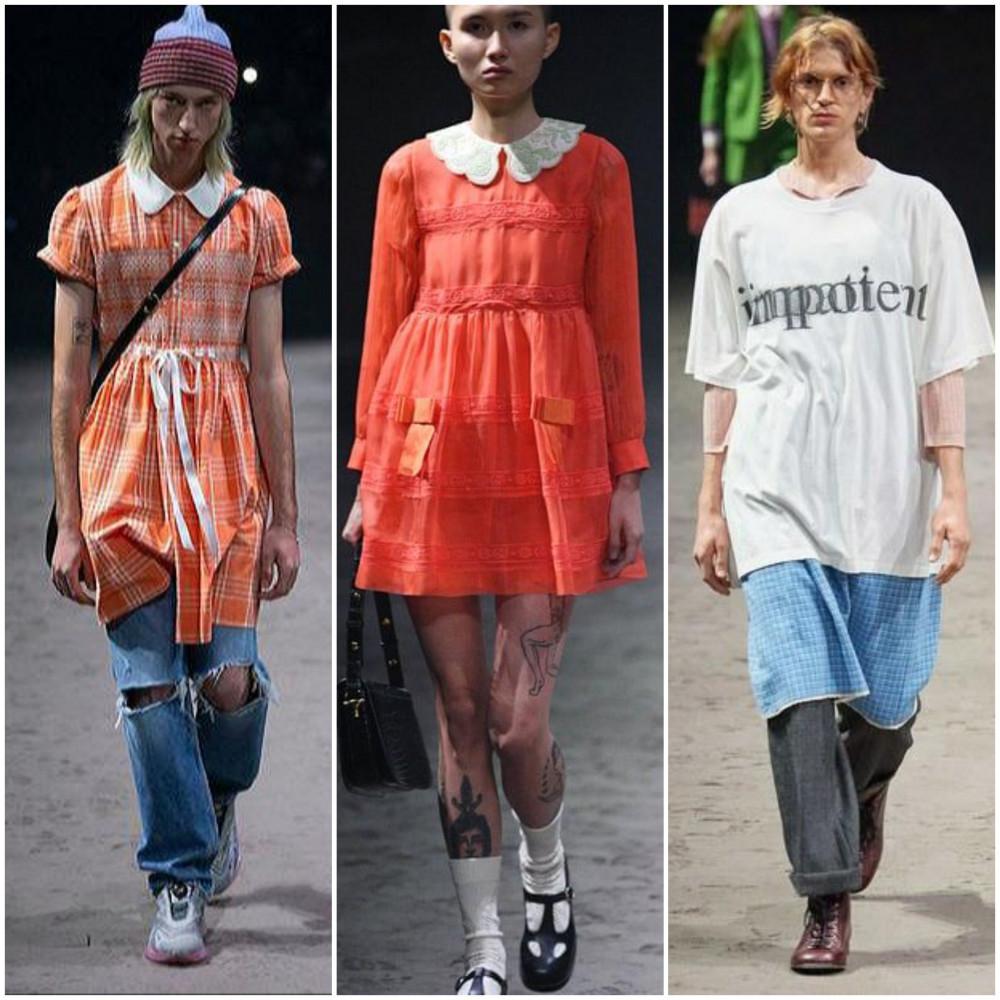 """Bộ sưu tập Thu - Đông 2020 dành cho nam giới của Gucci trình làng ngày 14/1 bị đánh giá nữ tính thái quá, phá vỡ những chuẩn mực """"nam tính"""" trước đó. Những mẫu nam diện váy babydoll, quần ống loe, áo len màu sắc phối cùng nhiều họa tiết và phụ kiện khá rối mắt."""