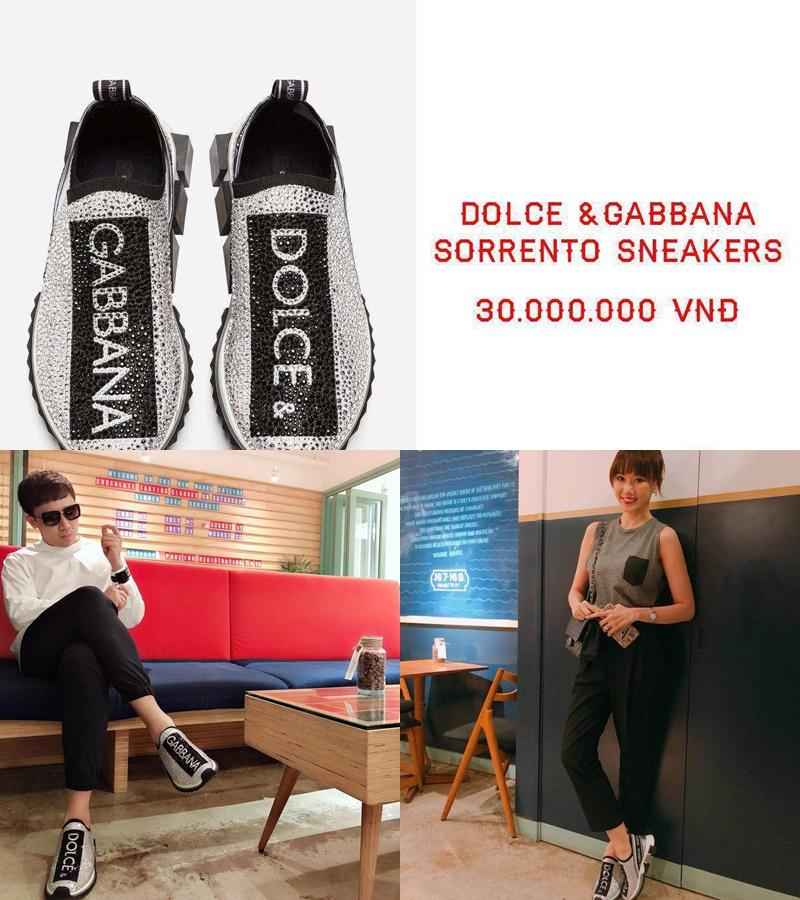 Nam danh hài mua 2 đôi giày sneaker lấp lánh của Dolce&Gabbana cho anh và bà xã có giá 30 triệu đồng/đôi.