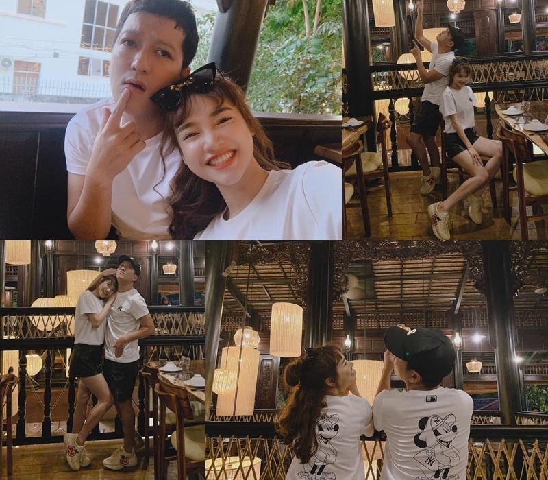 Hai vợ chồng Nhã Phương-Trường Giang cũng nhiều lần diện đồ đôi từ áo quấn cho tới phụ kiện để xuất hiện cùng nhau rất hạnh phúc.