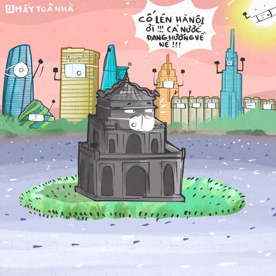 Lời động viên Hà Nội bằng tranh của trang fanpage Mấy Tòa Nhà