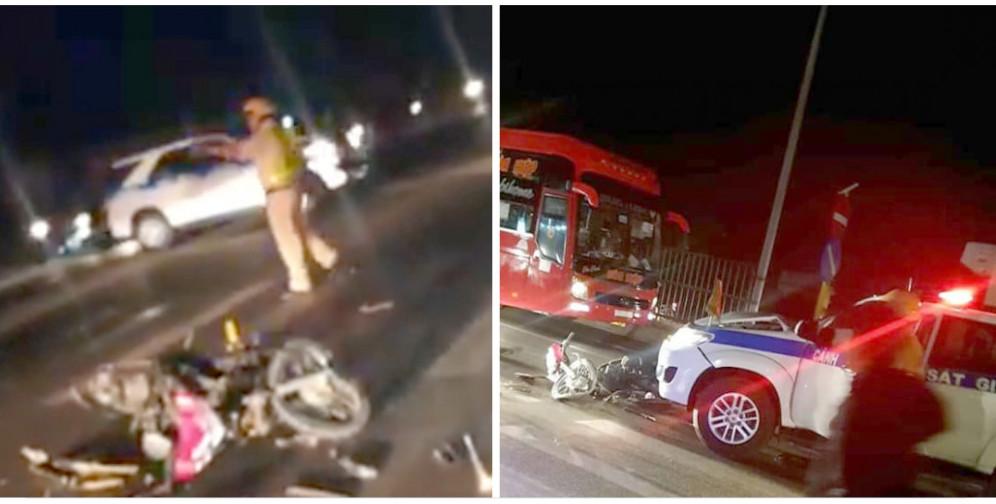 Hình ảnh được nhiều người chia sẻ, cho rằng xe của CSGT tông xe máy