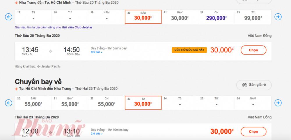 Giá vé máy bay trong mua dịch của một hãng hàng không chỉ 30.000 đồng/người. Ảnh: Chụp màn hình