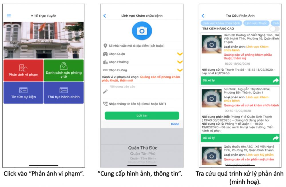 Các mục, nội dung trong ứng dụng Y tế trực tuyến giúp người dân dễ dàng phản ảnh về cơ sở y tế.