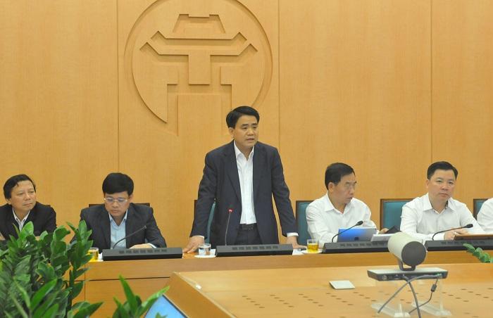 Chủ tịch UBND TP. Nguyễn Đức Chung chủ trì cuộc họp.