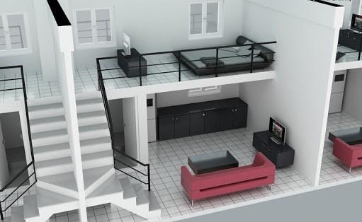 Phối cảnh thiết kế căn hộ 20m2 + gác lửng 10m2 của Công ty Becamex Bình Dương
