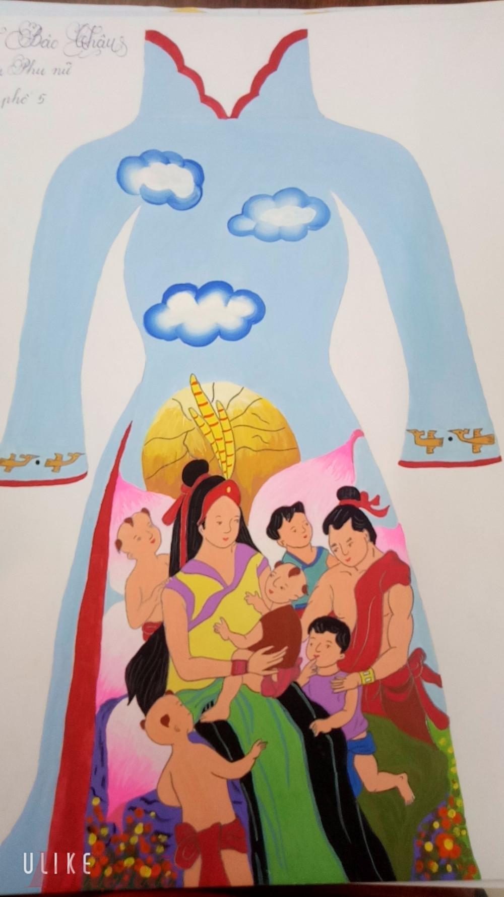 Một số bức tranh áo dài cho chín các em thiếu nhi vẽ tham gia hội thi.