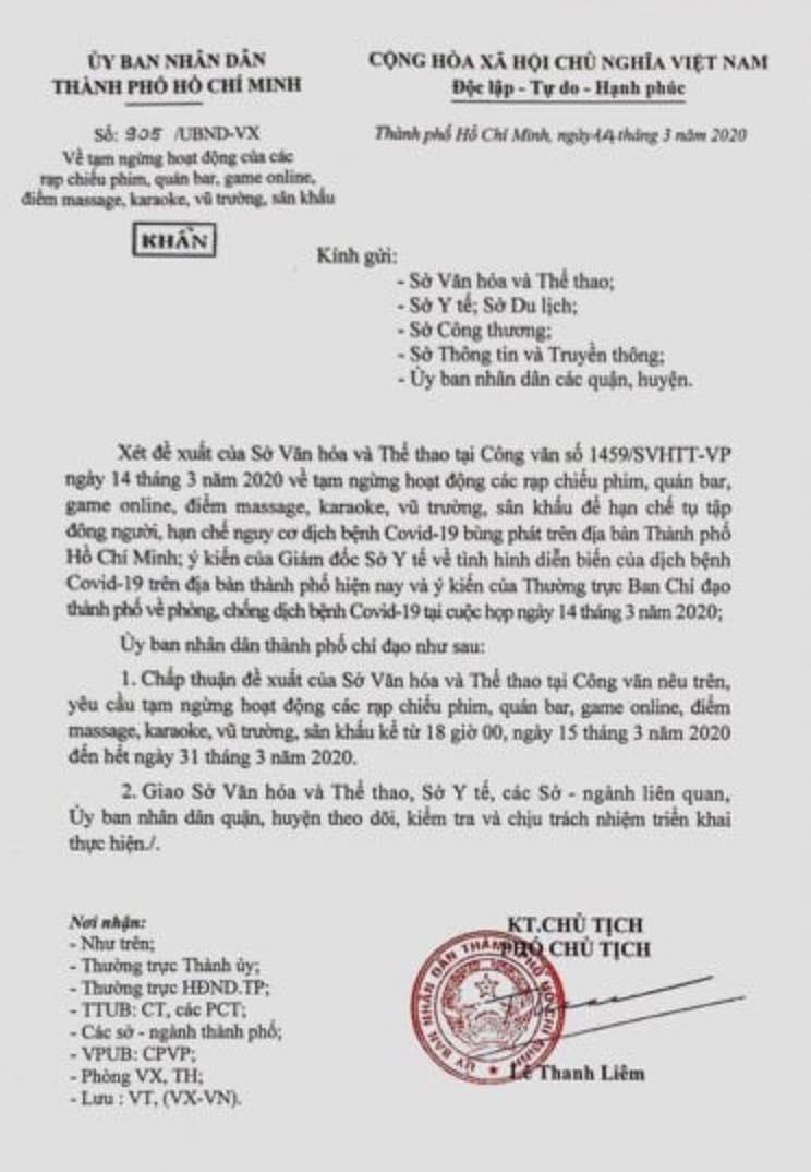 Công văn khẩn của UBND TPHCM về tạm ngưng hoạt động kinh doanh giải trí toàn TP