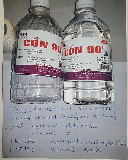 Hình ảnh và thông tin chai cồn bệnh nhân đã sử dụng thay rượu
