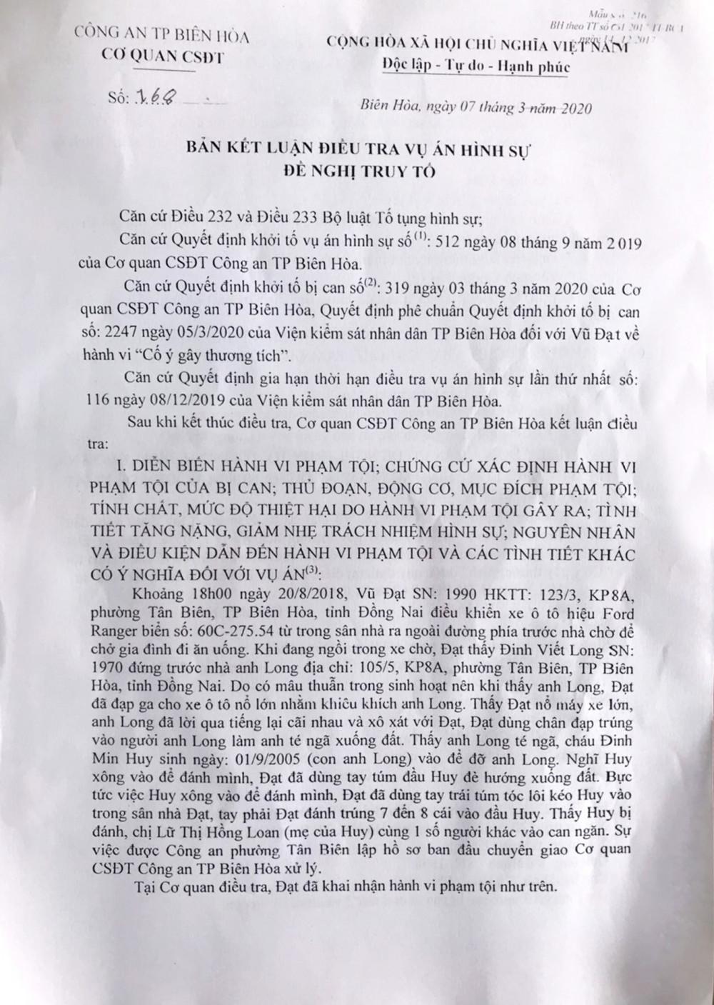 Bản kết luận điều tra của Công an TP.Biên Hòa  mà luật sư Trần Thị Ngọc Nữ nhận được chiều 13/3