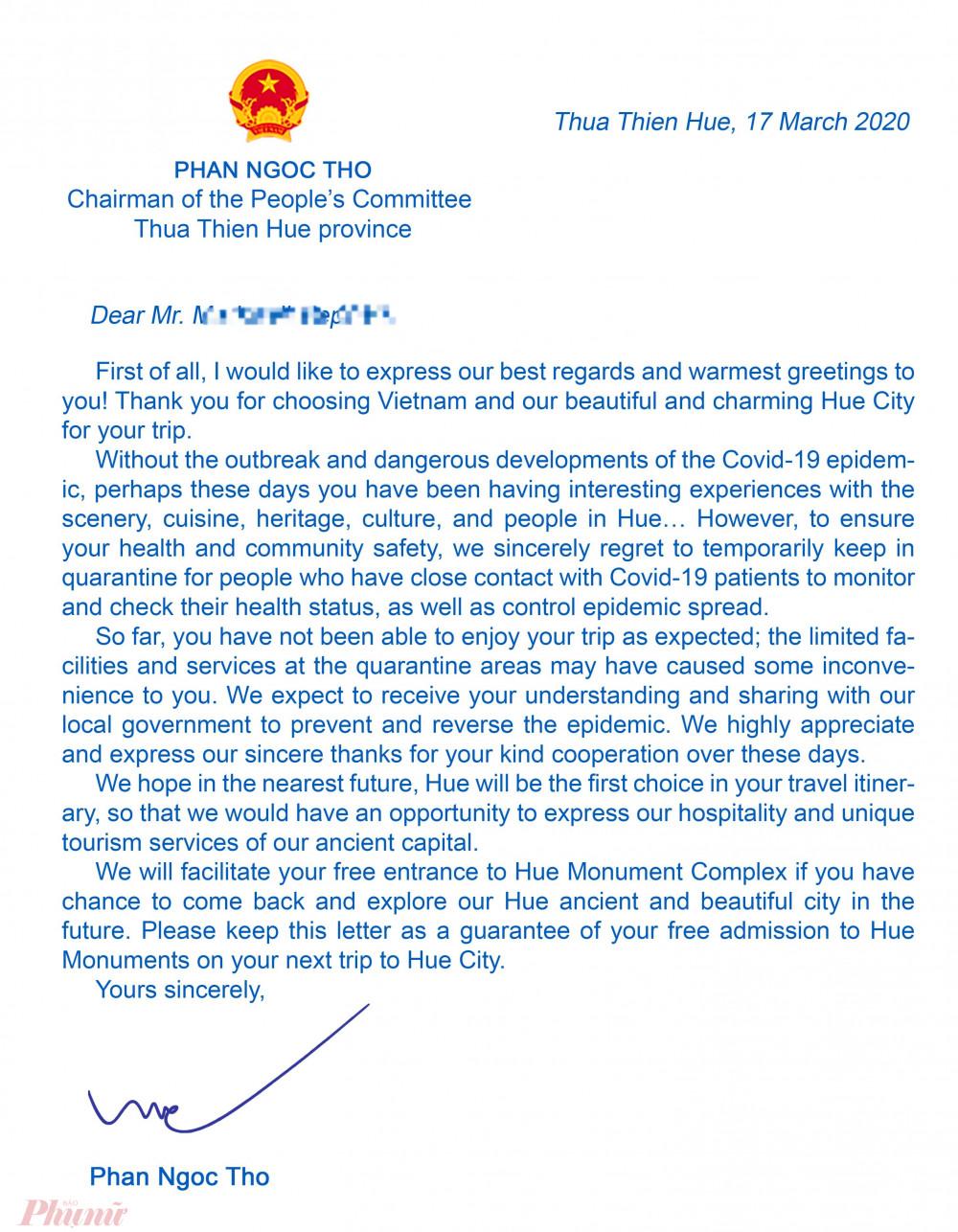 Bức thư tỉnh Thừa Thiên - Huế gửi du khách đang cách ly tại Huế