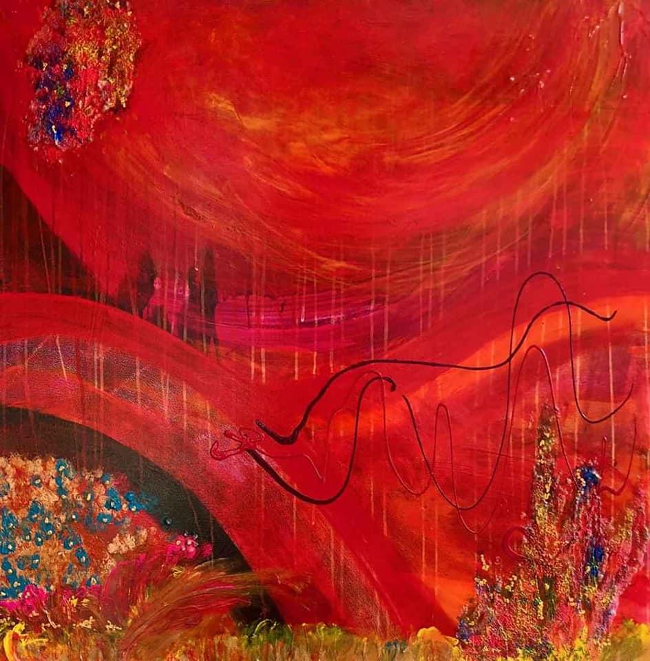 Tác phẩm Trục vũ trụ của họa sỹ nổi tiếng người Singapore Gloria Keh, do một người sưu tập ủng hộ chương trình