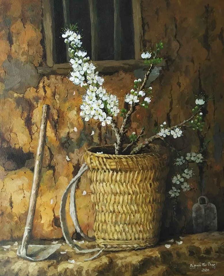 Tác phẩm Gùi hoa mận trắng của họa sỹ Nguyễn Thị Dung