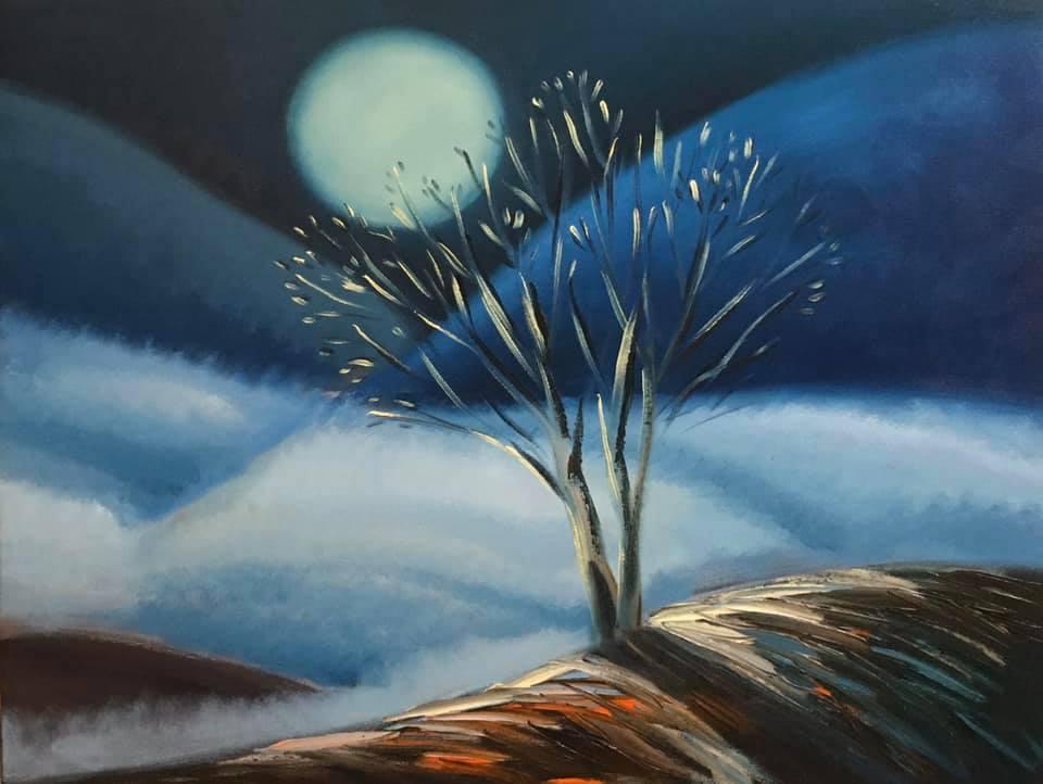 Tác phẩm Mây đêm của họa sỹ Hoàng A Sáng