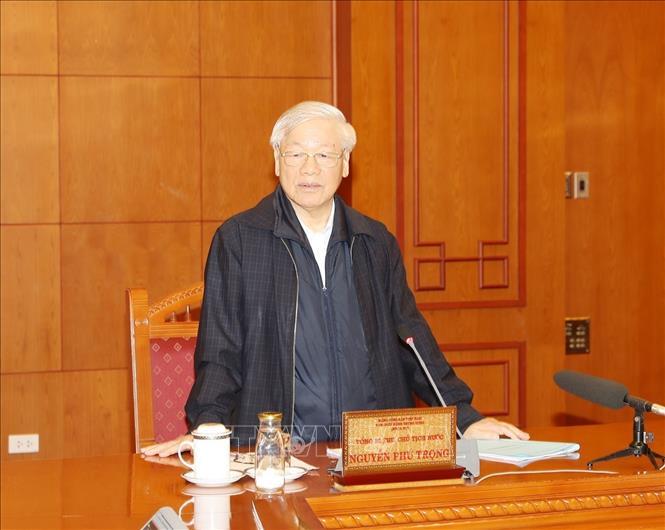 Tổng Bí thư, Chủ tịch nước Nguyễn Phú Trọng, Trưởng Tiểu ban Nhân sự Đại hội XIII của Đảng phát biểu chỉ đạo cuộc họp - Ảnh: Trí Dũng/TTXVN