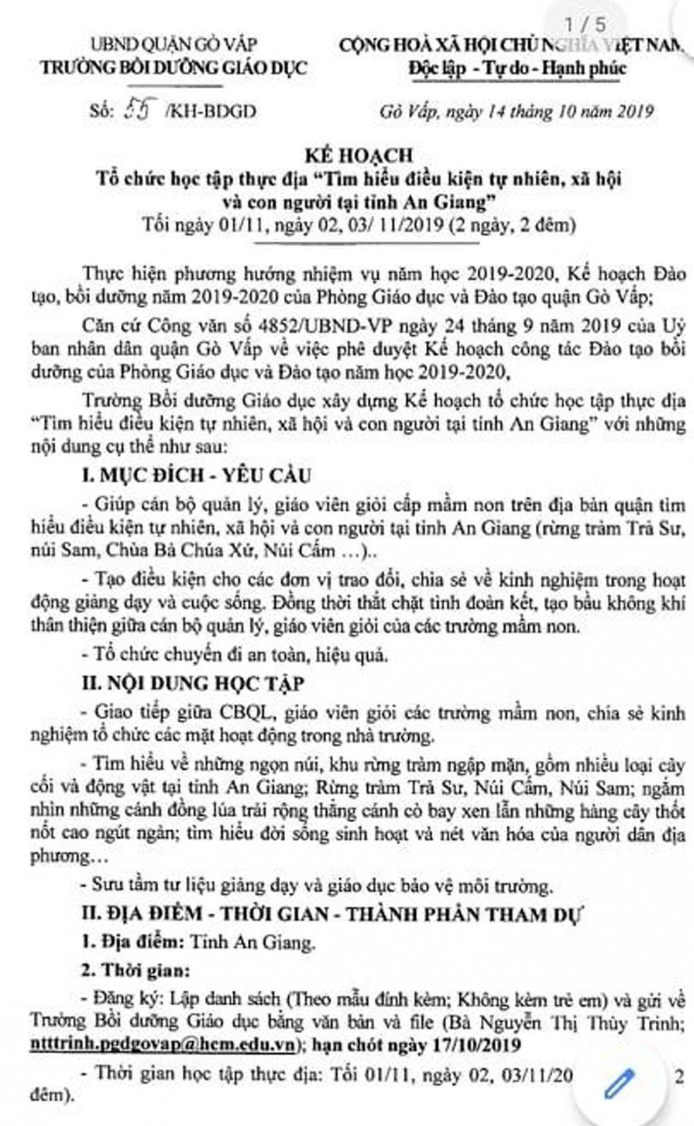 Thông báo kế hoạch tổ chức chuyến đi học tập thực địa của Trường Bồi dưỡng giáo dục quận Gò Vấp