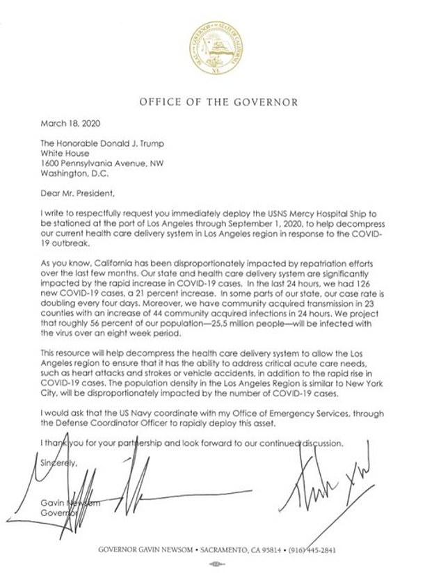 Bức thư của Thống đốc bang California gửi đến Tổng thống Mỹ để yêu cầu trợ giúp.