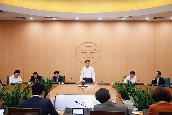 Toàn cảnh cuộc họp của Ban chỉ đạo phòng chống dịch TP. Hà Nội.