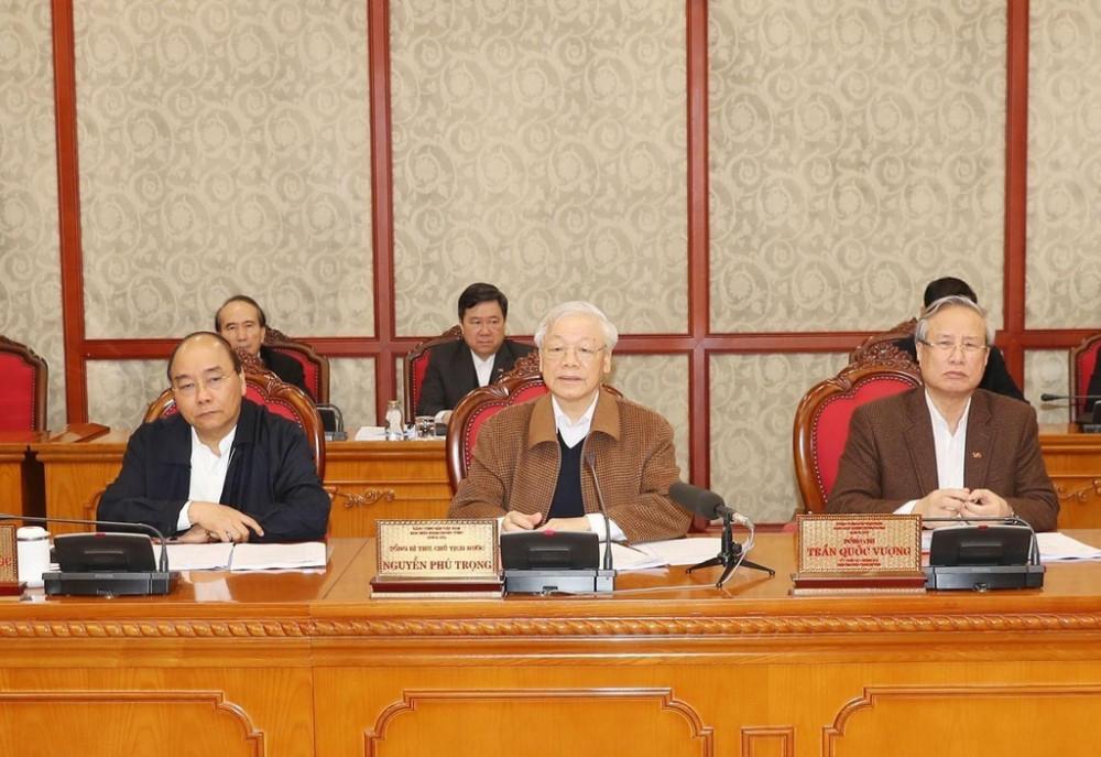 Tổng Bí thư, Chủ tịch nước Nguyễn Phú Trọng chủ trì cuộc họp (Ảnh: TTXVN)