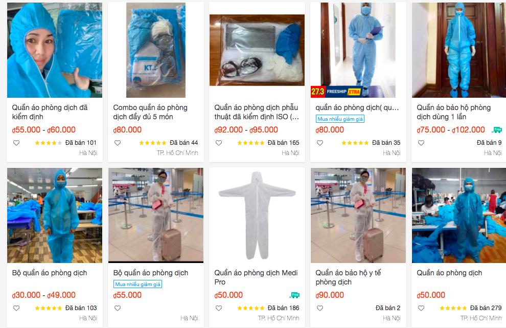 Trên sàn thương mại điện tử, đồ bảo hộ có rất nhiều sản phẩm với đủ giá cả.