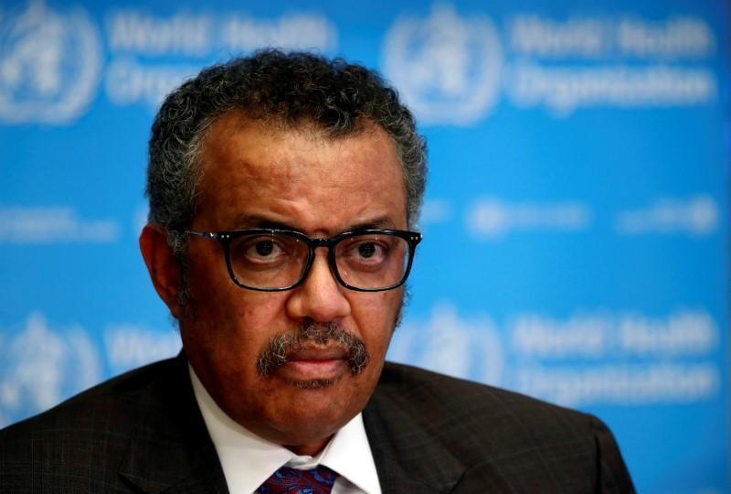 Tổng Giám đốc WHO Tedros Adhanom Ghebreyesus tham dự một cuộc họp báo về tình hình COVID-2019 tại Geneva, Thụy Sĩ - Ảnh: Reuters