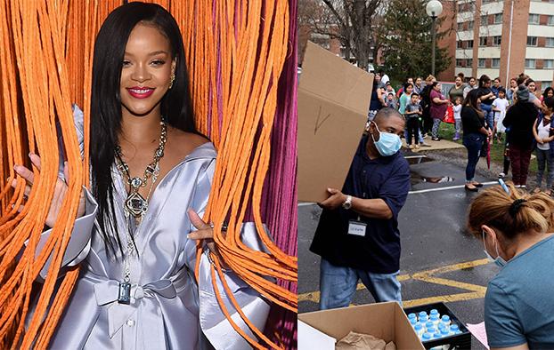 Ca sĩ Rihanna và hình ảnh CLF phát khẩu trang cho người dân.