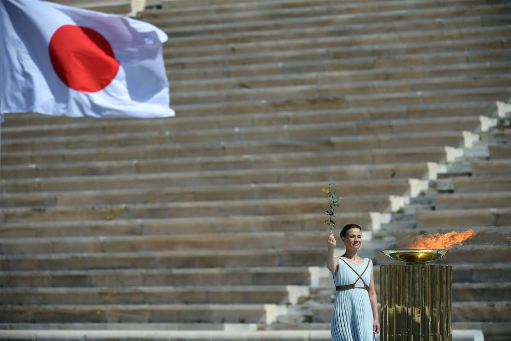 Lễ chuyển giao ngọn đuốc Thế vận hội cho Nhật Bản tại Athens (Hy Lạp) ngày 19/3. Ảnh: AFP