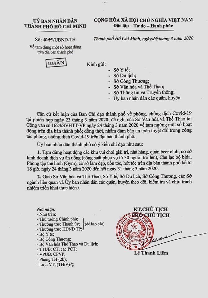 Văn bản khẩn của UBND TPHCM yêu cầu dừng mọi hoạt động kinh doanh, giải trí trên địa bàn