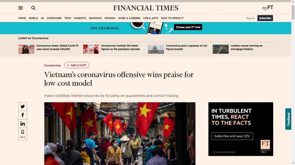 Tờ báo có trụ sở tại London, Anh ca ngợi công tác chống dịch đúng đắn của Việt Nam suốt hai tháng qua.