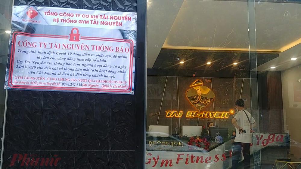 Một phòng tập gym trên đường Gò Dầu, quận Tân Phú thông báo đóng cửa