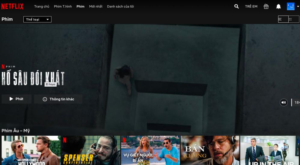 Netflix đang là nền tảng chiếu phim trực tuyến được người xem truy cập cao.