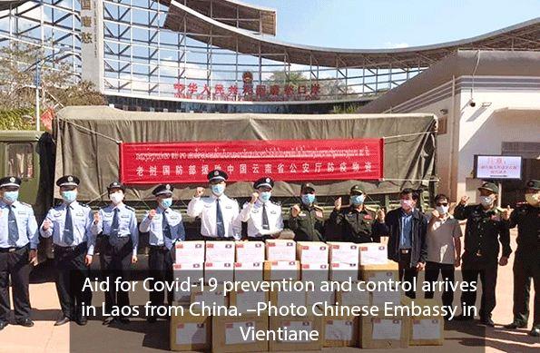 Lô hàng hỗ trợ của Trung Quốc cho Lào chống dịch COVID-19. Ảnh: Vientaine Times