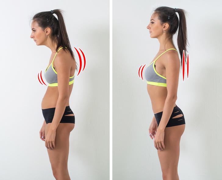 Chú ý lại tư thế của bạn.  Việc giữ đúng tư thế không chỉ giúp bạn trông đẹp hơn mà còn loại bỏ những áp lực trên các khớp và mô do đứng, ngồi sai tư thế, điều này có thể góp phần gây chảy xệ. Tư thế đúng giúp phân bổ trọng lượng đồng đều và ngăn ngừa đau ngực và lưng. Hãy nhớ rằng bạn phải luôn luôn đứng với tư thế hai chân bằng vai, đầu giữ thẳng và bụng hóp vào. Để duy trì tư thế này, hãy tưởng tượng bạn đang đứng dựa vào tường để đo chiều cao của bạn!