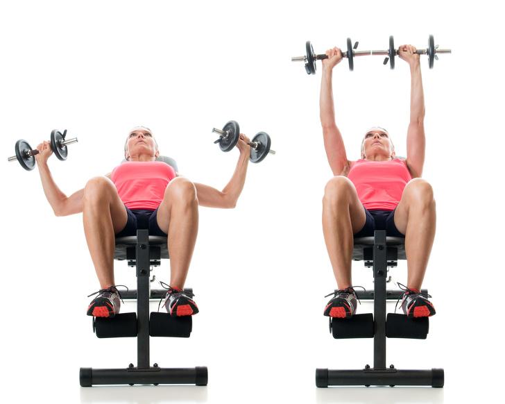 Bài tập ép ngực trên băng ghế  Bài tập ép ngực trên băng ghế là một bài tập tuyệt vời bạn có thể sử dụng để làm săn chắc cơ bắp và tăng khối lượng cơ ngực để làm cho ngực trông đầy đặn hơn.