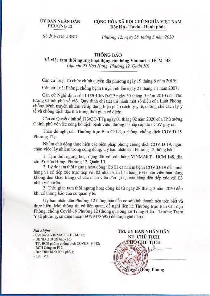 thông báo của UBND phường 12, quận 10, TPHCM về việc đóng cửa